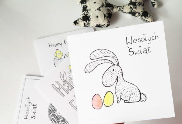 Kartka Wielkanocna z zającem w groszki i z żółtą i czerwoną pisanką, życzenia świąteczne, ręcznie robiony telegram