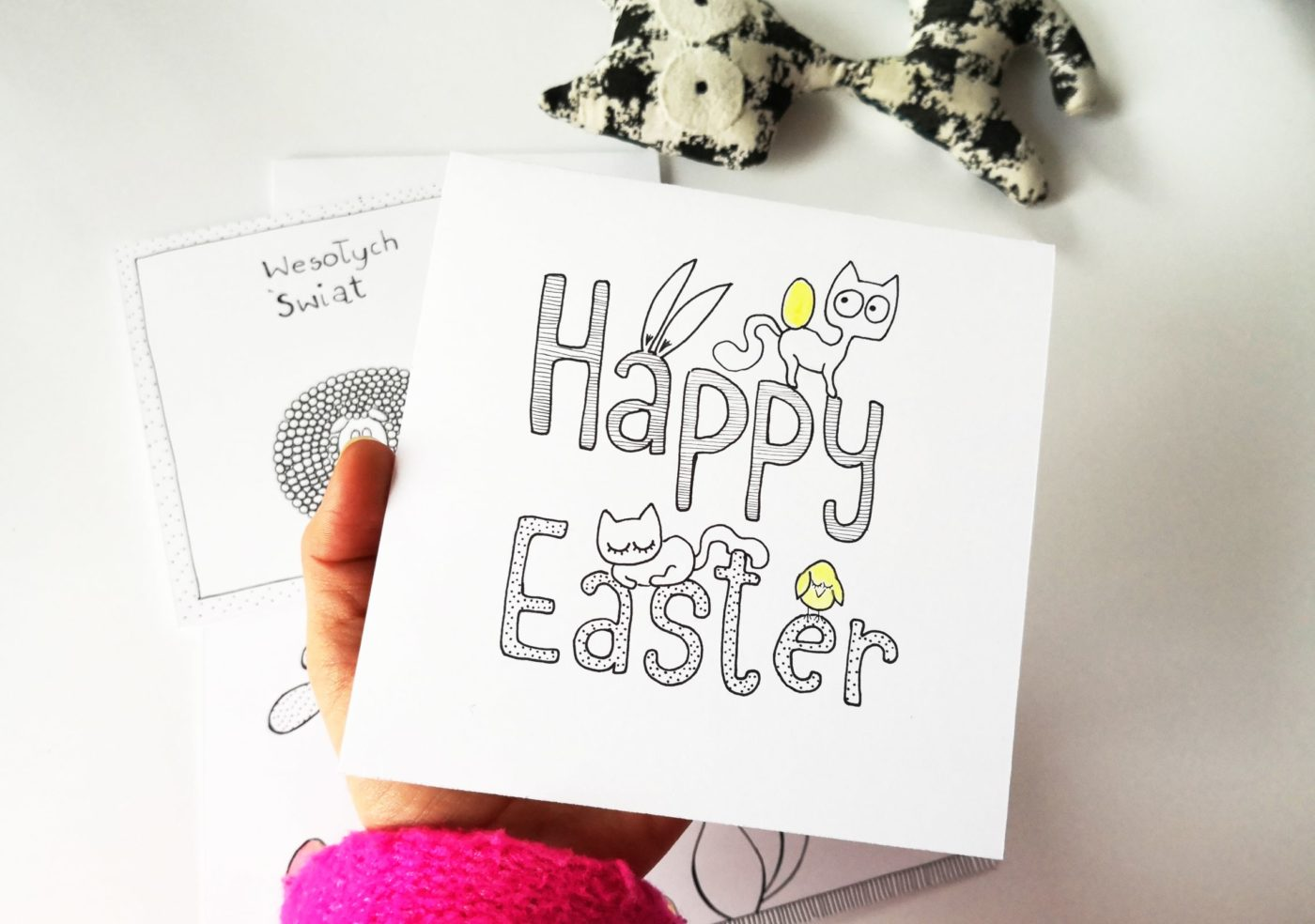 Easter greetings card with Happy Easter lettering and cats, for cats lovers, handmade