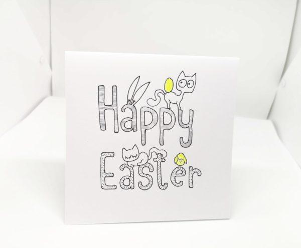 Kartka wielkanocna z napisem Happy Easter i kotkami, dla kociarzy, ręcznie robiona