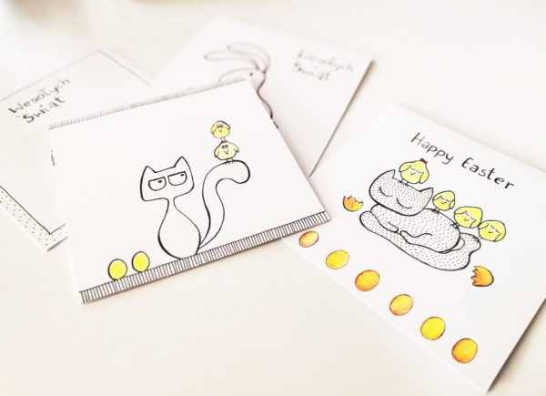 easter greetings cards handmade for cat lovers