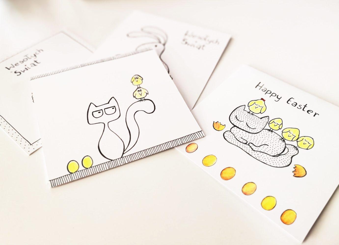 easter greetings cards handmade for cat lovers