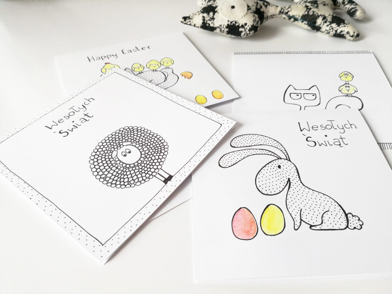 Easter greetings cards handmade fineliner drawing, minimalist