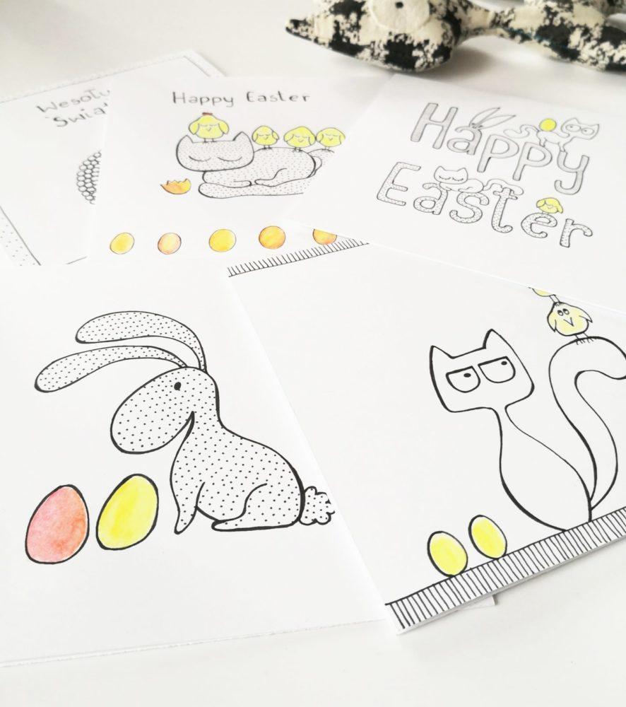 kartki na Wielkanoc, ręcznie robione, zając w groszki, kotek i kurczaki, życzenia