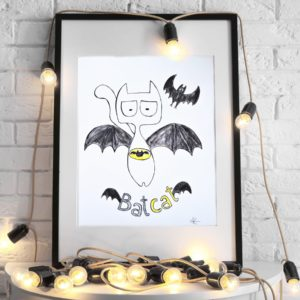Batcat with flaying bat, superhero and his friends