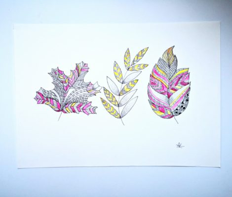 handicraft graphic drawing with three colorful leaves for autumn home decoration
