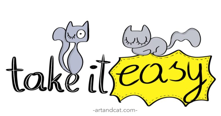 digital artwork take it easy drawing with lettering and grey cats minimalist cats drawing